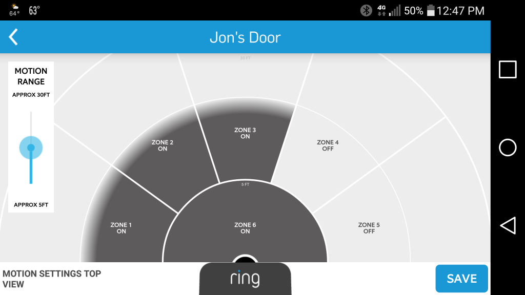 Ring's motion detection feature